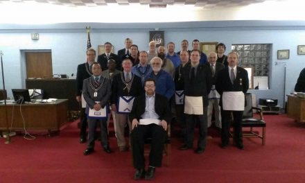 New Master Mason tonight, plus Brother Matt wearing an apron from 1932!