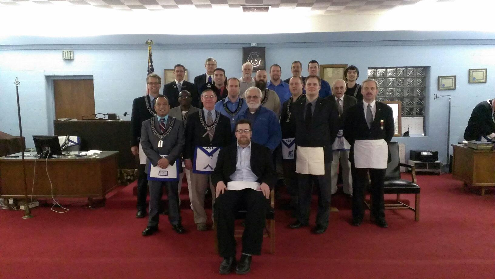 New Master Mason tonight, plus Brother Matt wearing an apron