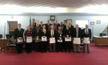 Curtis (Skip) Stumm received his 50-Year Award from Grand Master, George A. Ingles and Carmel Lodge 421