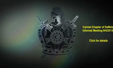 Carmel Chapter of DeMolay Meeting this Wednesday 9/4/2013 at 7pm