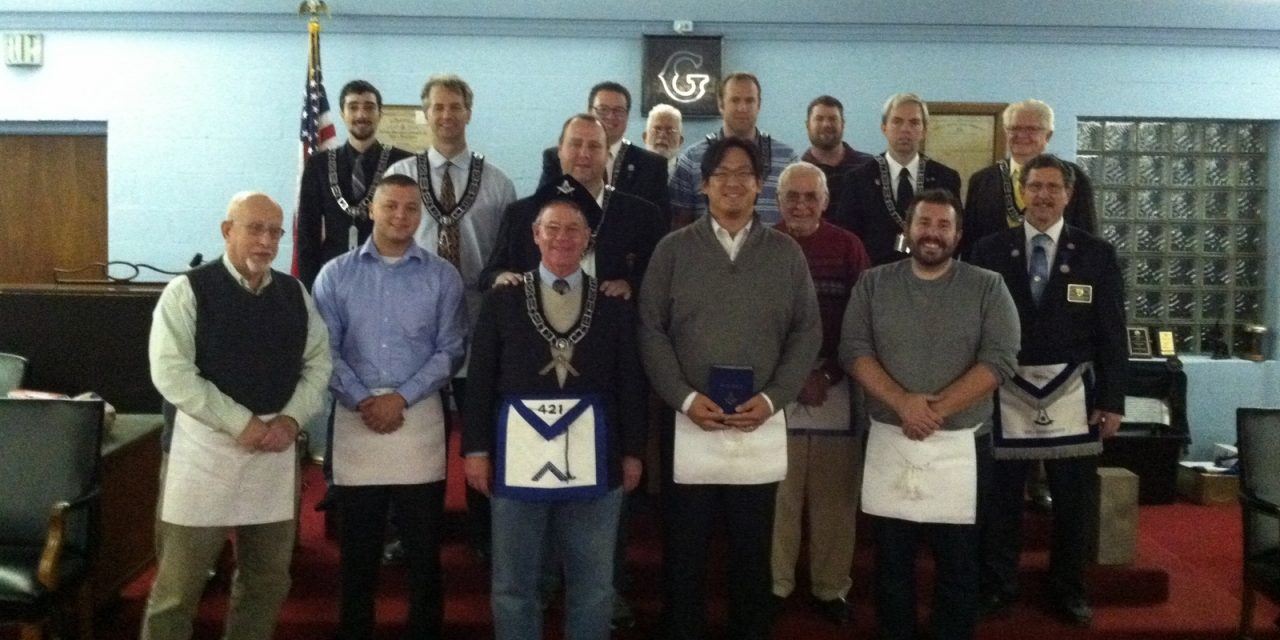 James Bose, Allen Huang, and Travis Wolf raised to Master Mason