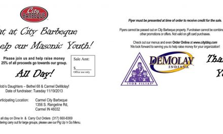 Eat at City Barbeque and Help Our Masonic Youth!