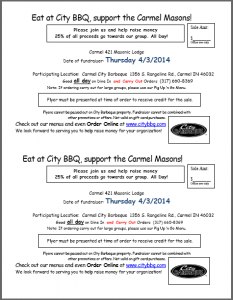 Eat at City BBQ, support the Carmel Masons!