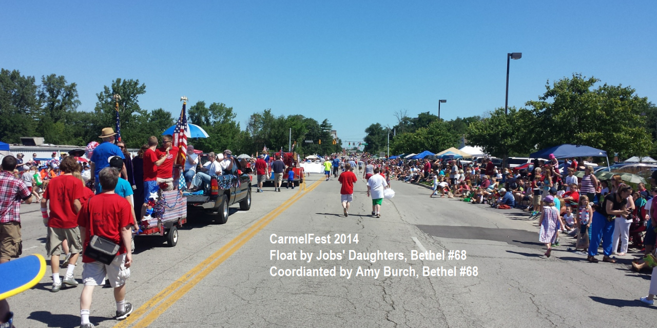 Carmel #421, DeMolay, and Job's Daughters Bethel #68 March in CarmelFest 2014