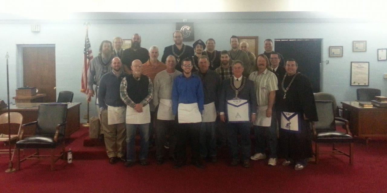 Carmel Lodge #421's newest Fellow Craft