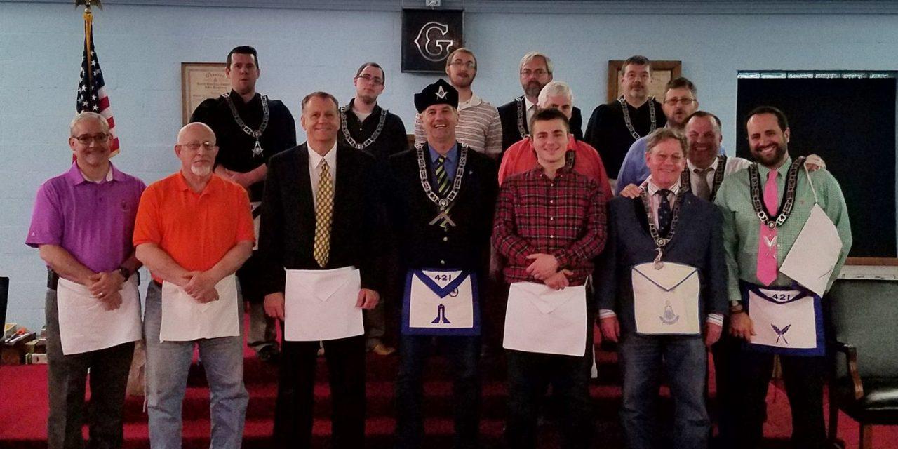 Carmel Masonic Lodge #421 congratulates two new Fellow Crafts