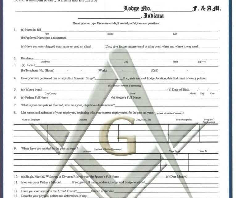 PETITION FOR THE DEGREES OF FREEMASONRY
