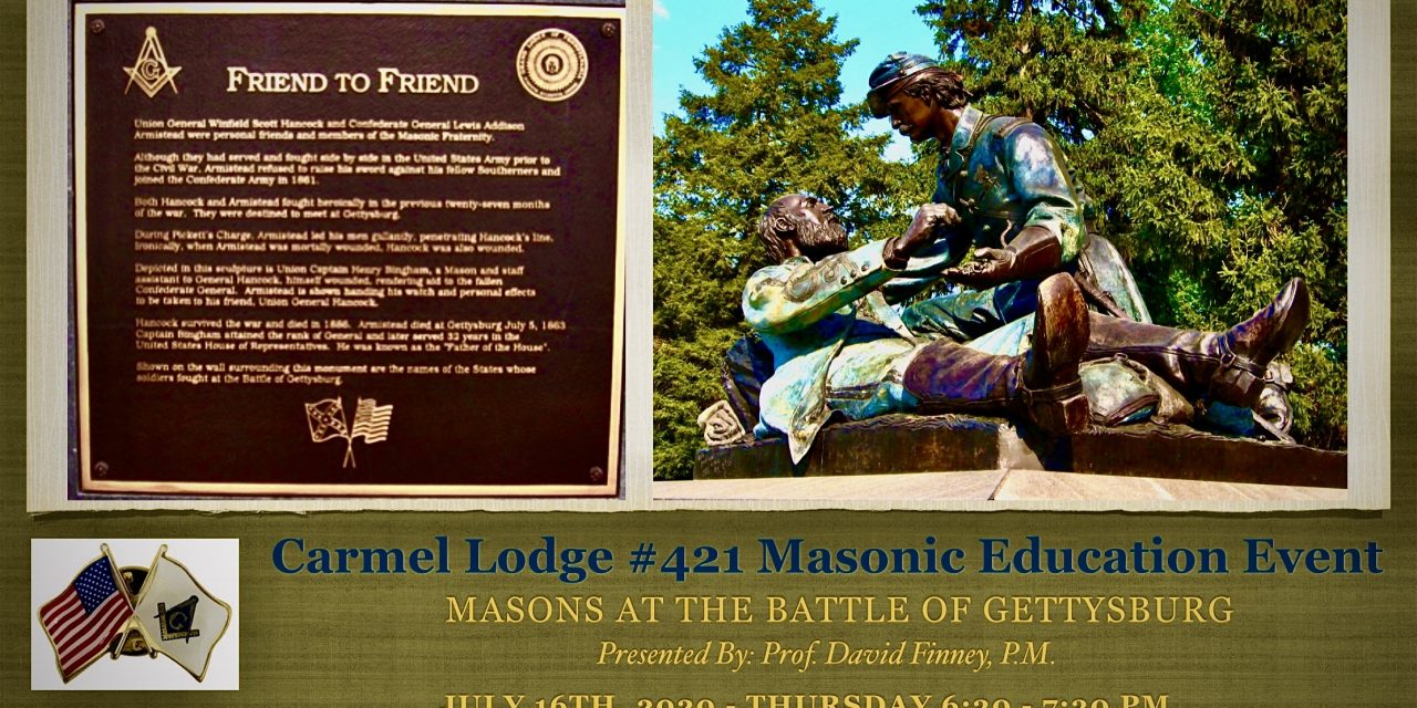 Masonic Education Event: Masons at the Battle of Gettysburg